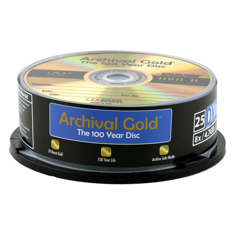 "Delkin Archival Gold DVD-R ""100 Year Disc"" with Scratch Armor Surface (25pc Spindle)"