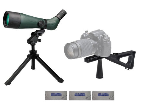 Konus KonuSpot-80 20-60x80 Zoom Spotting Scope Bundle with Stedi-Stock with Quick-Release, and 3 Cleaning Cloths
