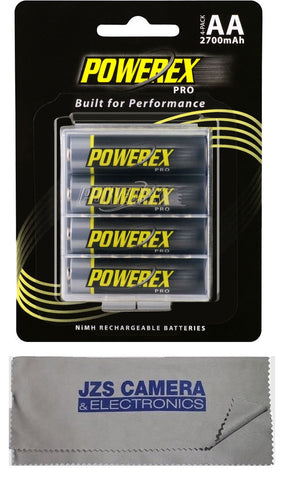 Powerex Pro Rechargeable AA NiMH Batteries [2700mAh, 1.2V] (4-pack) & Microfiber Cloth