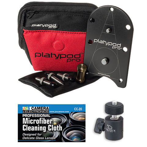 Platypod Pro Deluxe Kit for Camera Base Support + Giottos MH-1004 Pro Ball Head
