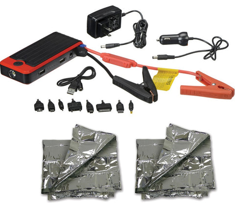 PowerAll Deluxe 12000mAh Car Jump Starter Kit with 2 Emergency Foil Blankets