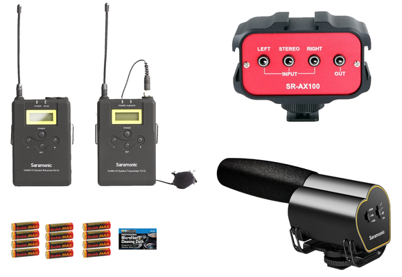 Saramonic UWMIC15 UHF Wireless Lavalier Microphone System, SR-VMIC Shotgun Microphone, SR-AX100 2-Channel Audio Mixer, 12 AA Batteries, and Cleaning Cloth