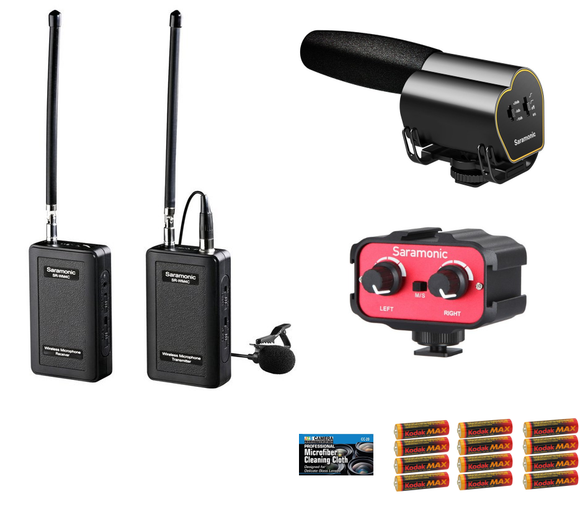Saramonic Video Recording Bundle with SR-Vmic Shotgun Microphone, SR-WM4C VHF Wireless Lav System, SR-AX100 2-Channel Audio Mixer, 12 AA Batteries, JZS Cleaning Cloth