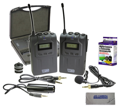 Vidpro XM-W4 Professional Wireless Lavalier Microphone System with Cleaning Kit and Microfiber Cloth