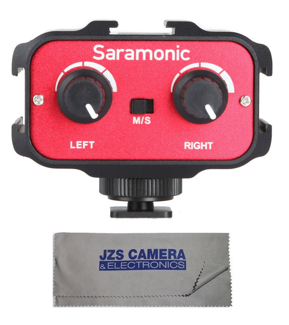 Saramonic SR-AX100 Universal Audio Adapter for DSLR Cameras & Camcorders with Microfiber Cleaning Cloth