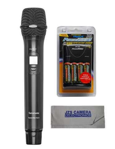 Saramonic HU9 96 Channel Digital UHF Wireless Handheld Microphone with Integrated Transmitter Kit with with VidPro Rapid Battery Charger, 4 Rechargeable AA Batteries, & Cleaning Cloth