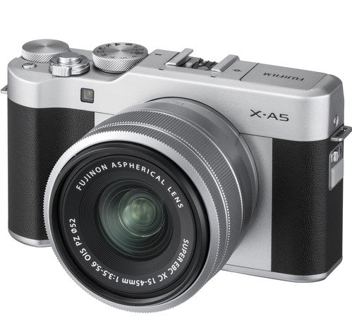 Fujifilm X-A5 Mirrorless Digital Camera with 15mm-45mm OIS PZ Lens (Silver)
