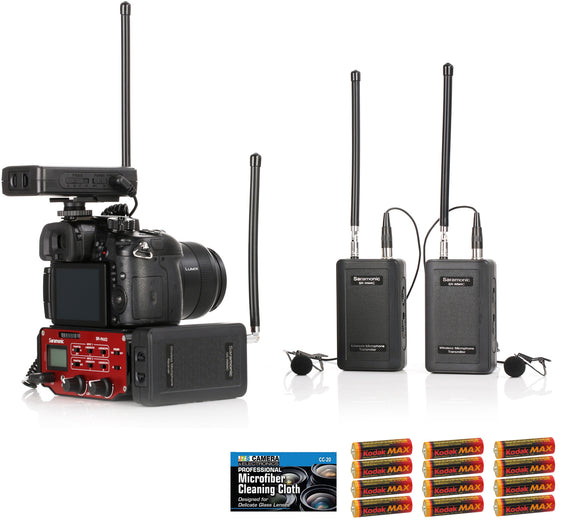 Saramonic SR-WM4C Wireless VHF Dual Lavalier System Kit with SR-PAX2 Mixer, 12 AA Batteries, and Cleaning Cloth