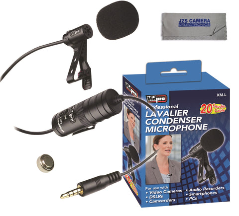 Vidpro XM-L Professional Lavalier Condenser Microphone with Microfiber Cloth