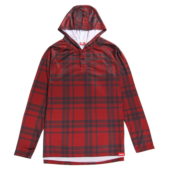 Haskill red hooded lumberjack baselayer for skiing