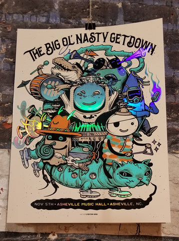 Big Ol' Nasty Getdown - Asheville, NC Nov 5th, 2018 - Gig Print by Munk One