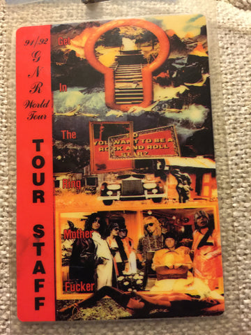 Guns N' Roses - 1991/92 World Tour Back Stage Pass