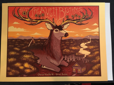 Avett Brothers - Charlottesville, VA - October 30th, 2016 - Gold Variant by Jim Mazza