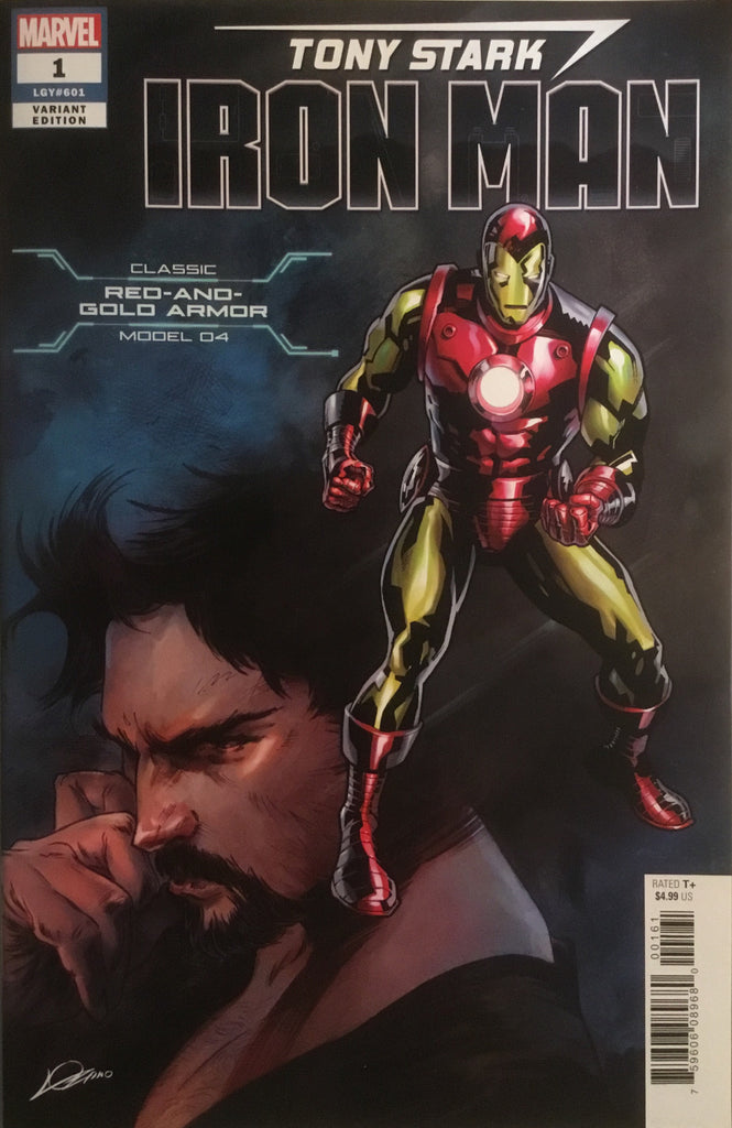 TONY STARK IRON MAN # 1 CLASSIC RED AND GOLD ARMOR VARIANT COVER