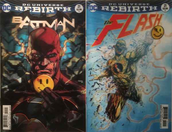 BATMAN (REBIRTH) # 21 THE BUTTON PART 1 LENTICULAR COVER + FLASH (REBIRTH) # 21 THE BUTTON PART 2 LENTICULAR COVER