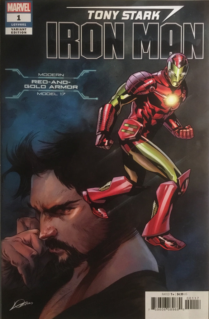 TONY STARK IRON MAN # 1 MODERN RED AND GOLD ARMOR VARIANT COVER