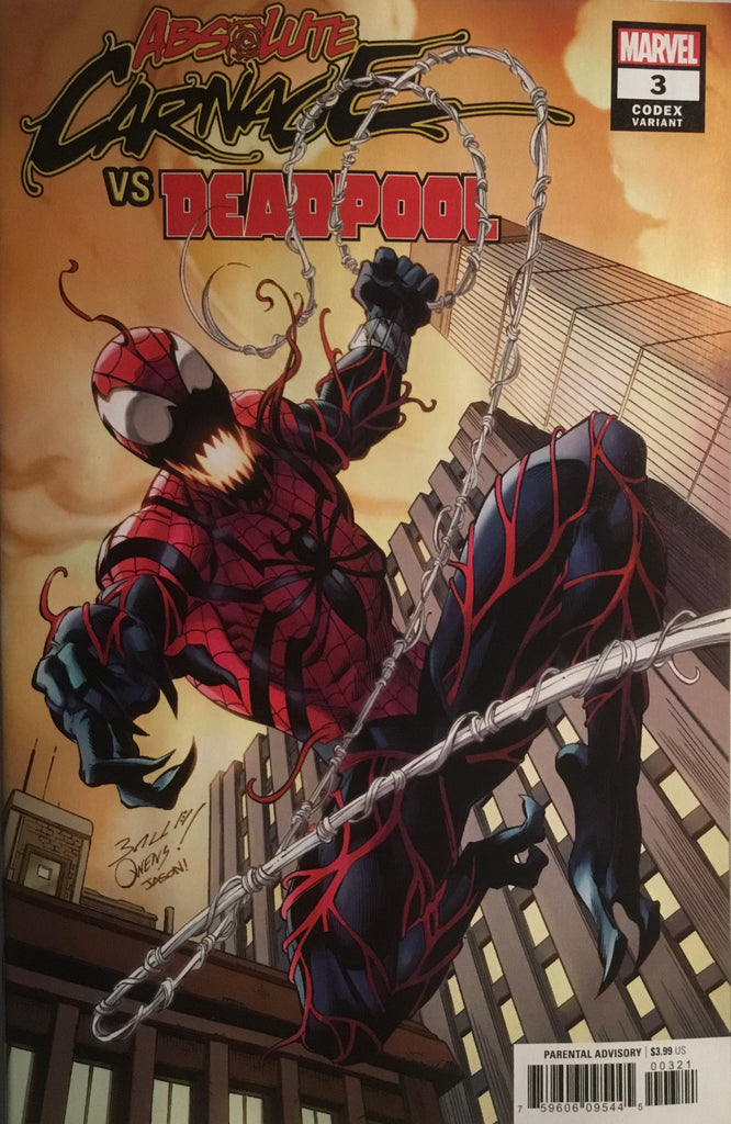 ABSOLUTE CARNAGE VS DEADPOOL # 3 BAGLEY CODEX 1:25 VARIANT COVER