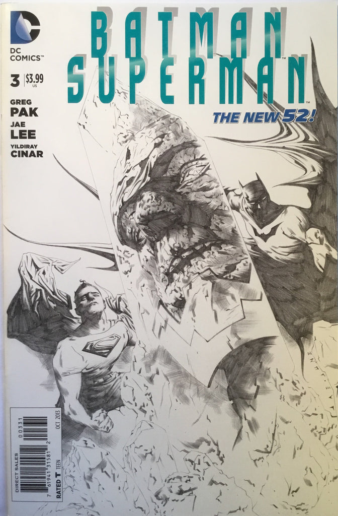 BATMAN/SUPERMAN # 3 JAE LEE 1:100 BLACK & WHITE SKETCH VARIANT - Comics 'R' Us