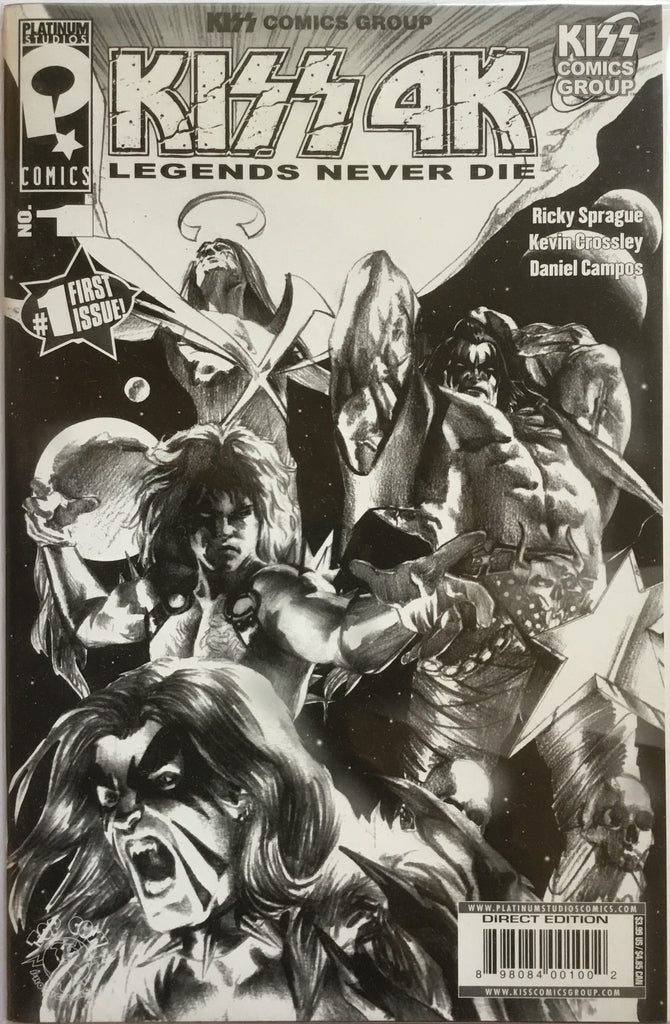 KISS 4K # 1 BLACK & WHITE SKETCH COVER