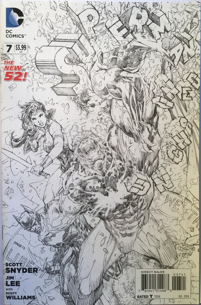 SUPERMAN UNCHAINED # 7 JIM LEE BLACK & WHITE 1:100 VARIANT