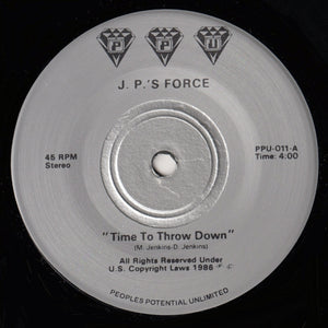 "JP'S FORCE ""Time To Throw Down"" PPU-011 SYNTH BOOGIE FUNK 7"""