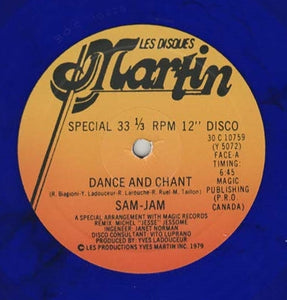 "SAM-JAM ""Dance And Chant"" COSMIC DISCO BLUE VINYL REISSUE 12"""