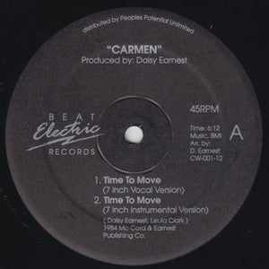 "CARMEN ""Time To Move"" BEAT ELECTRIC PPU SYNTH BOOGIE FUNK 12"""