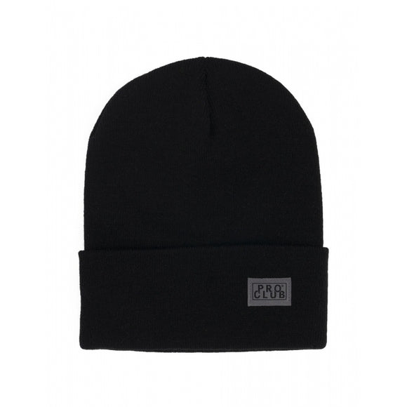 PRO CLUB Cuffed Beanie Knit Winter Hat - BLACK