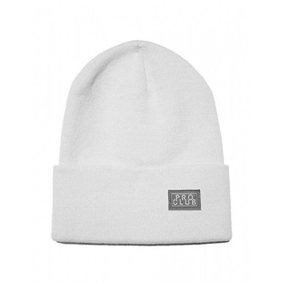 PRO CLUB Cuffed Beanie Knit Winter Hat - WHITE OUT