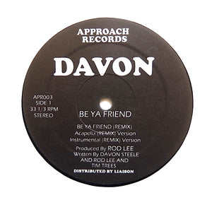 "DAVON / TIM TREES ""Be Ya Friend / Ass Clap"" MEGA RARE BALTIMORE RANDOM RAP 12"""