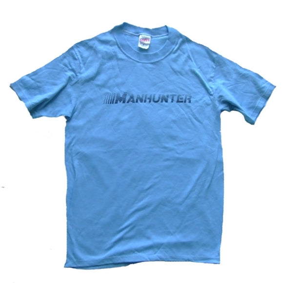 MANHUNTER ~ Made in USA ~ RARE BLUE VINTAGE DC HOUSE TECHNO T-SHIRT (Youth Large)