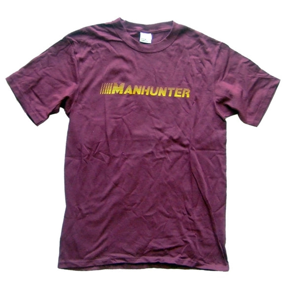 MANHUNTER ~ Made in USA ~ RARE BURGUNDY VINTAGE DC HOUSE TECHNO T-SHIRT (Large)