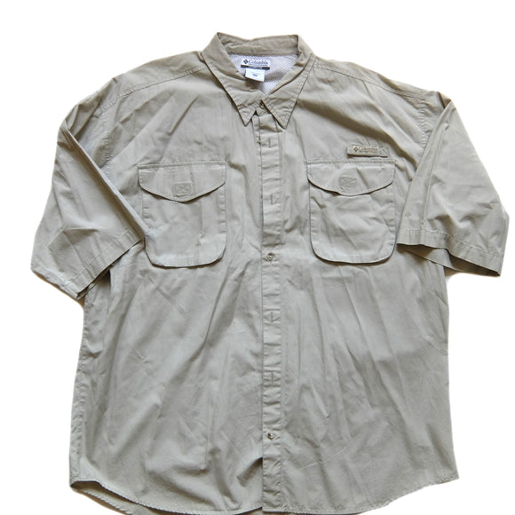 Columbia ~ Vintage ~ Rare Fossil Beige Vented Hiking Fishing Short Sleeve Shirt (XXL)