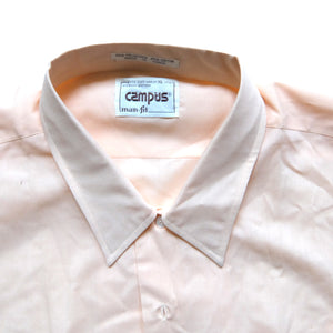 Campus ~ Vintage ~ Rare 70s 80s Hippie Disco Full Cut Peach Button Up Short Sleeve Shirt (XL)