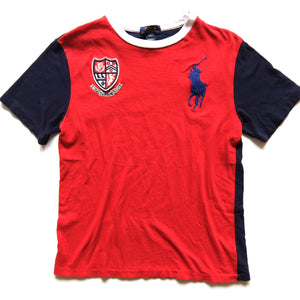 Polo by Ralph Lauren ~ Streetwear ~ Rare RLPC Colorblock Red Blue Shield Big Pony T-Shirt (Kids Large)