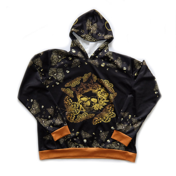 Butterfly Golden Skull ~ Streetwear ~ Rare Black Gold Kangaroo Pocket Sweatshirt Hoodie (XL)