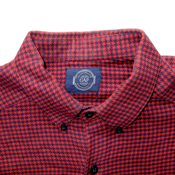Gap ~ Vintage ~ Rare 90s Y2k Red Blue Geometric Escher Button Up Long Sleeve Shirt (Large)