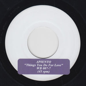 "APIENTO ""Things You Do For Love"" WORLD BUILDING AMBIENT DUB HOUSE TEST PRESS 7"""