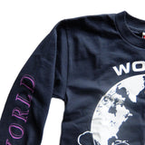WORLD BUILDING / LONG SLEEVE LOGO T-SHIRT (Navy)