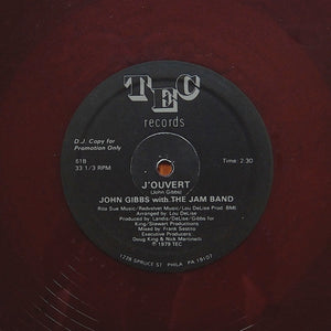 "JOHN GIBBS ""J'ouvert"" COSMIC ISLAND DISCO FUNK REISSUE 12"" RED WINE COLOR"