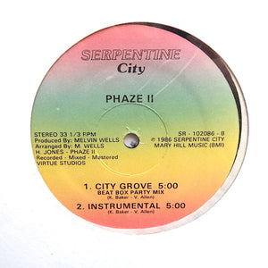 "PHAZE II ""City Groove"" ULTRA RARE PRIVATE PRESS SYNTH FUNK BOOGIE RAP 12"""