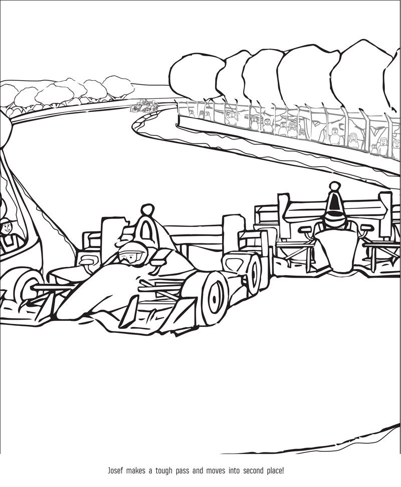 The Indy Car Driver Coloring Book Sample