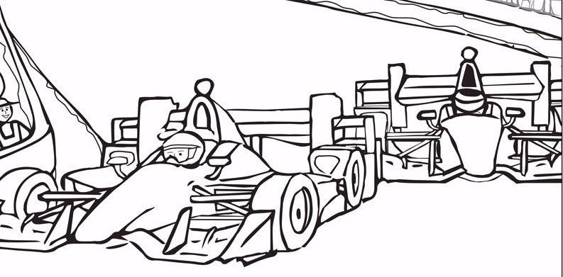 Sample Image From The Josef Indy Car Driver Coloring Book