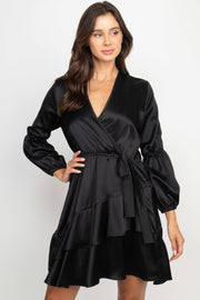 Casandra Black Wrap Dress