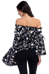 Georgia - One Shoulder Silk Top With Maxi Sleeves