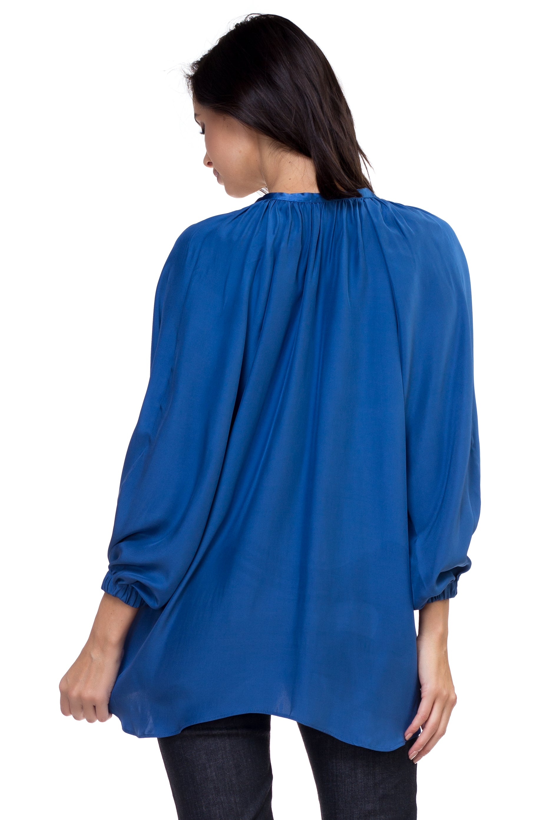 Ana - Airy Silk Blouse Ocean Blue