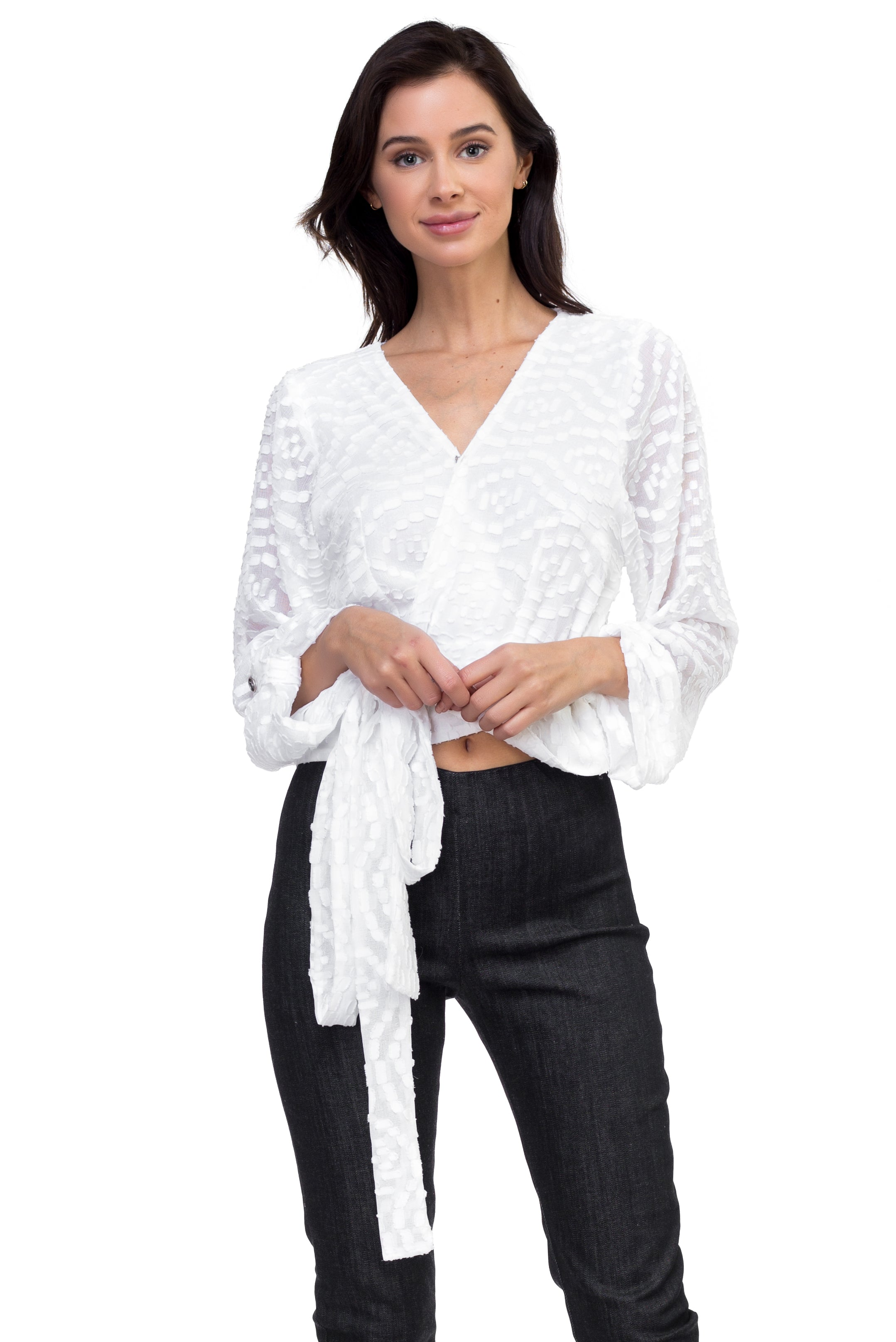 Katheryn - Long Sleeve Wrap Embossed Blouse