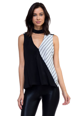 Fulvia - Black And Stripped Contrast Silk Blouse