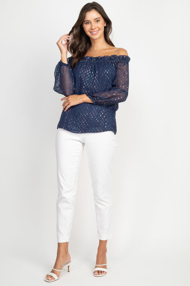 Milly Off Shoulder Silk Top