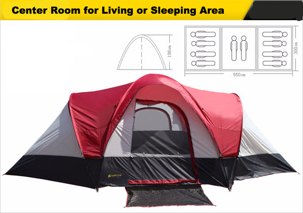 Double layer 3 bedroom waterproof camping tent for 8 -10 people